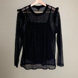 Who What Wear black layered lacy long sleeve top